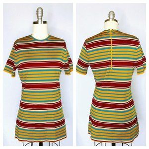 Vintage 70s Show Striped Polyester Shirt size M
